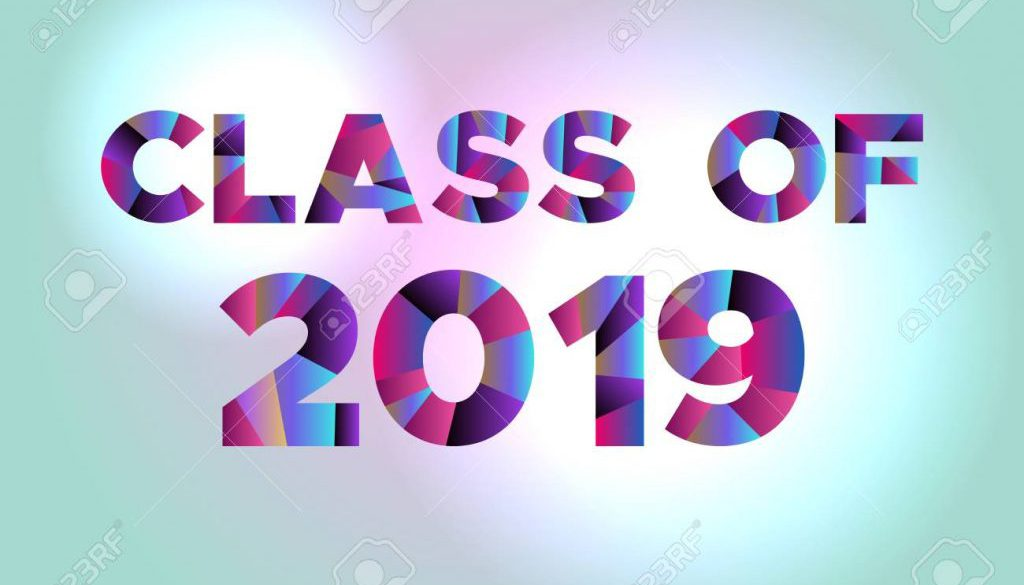 Class of 2019 Concept Colorful Word Art Illustration